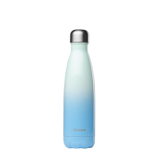 Ombre blue stainless steel insulated bottle
