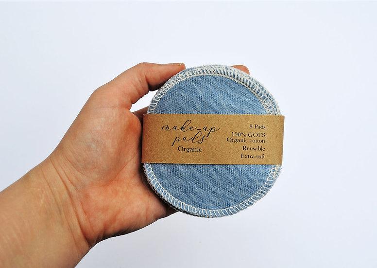 Organic cotton pads - blue