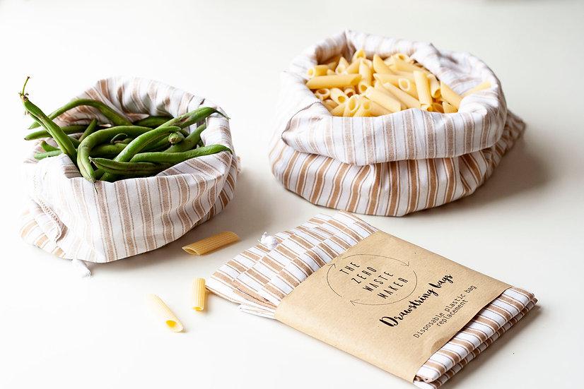 3 Drawstring produce bags - sand stripes