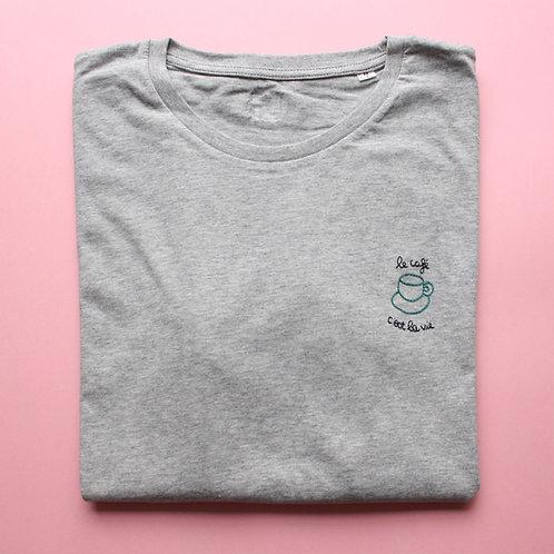 T-shirt brodé le café c'est la vie