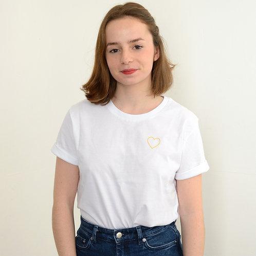 T-shirt brodé petit coeur jaune