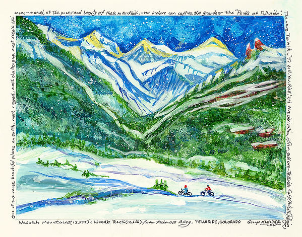Wasatch Mountains. Snowy Mountain scene with bikers and green forest