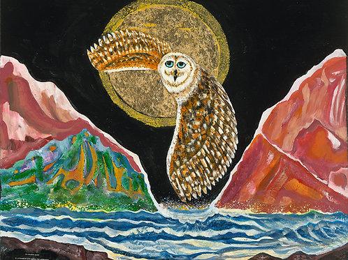 Snowy Owl Gold Moon