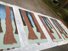 Painting trees in the forest.
