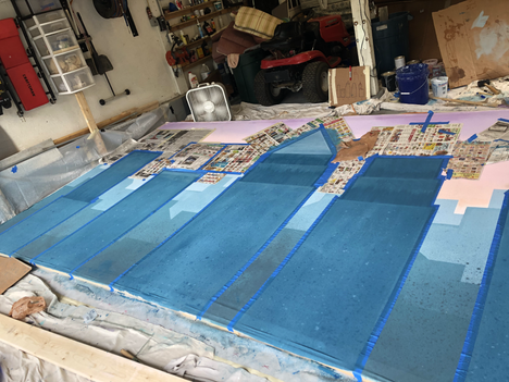 Painting the first layer of main buildings.