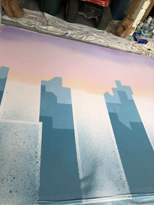 Spattering on the background buildings.