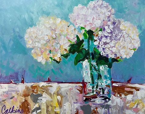 Three Hydrangeas in Vase
