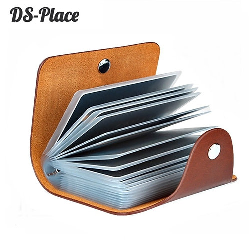 PU Leather 24 Bits Card Case Holder Men Women Passport Card ID Card