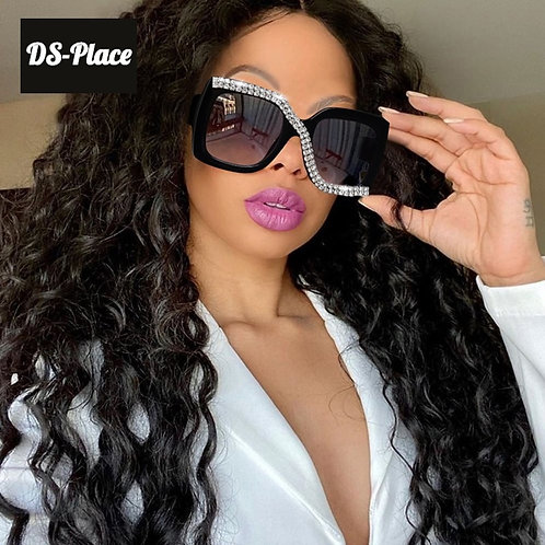2020 Women Square Rhinestone Luxury Vintage Over sized Sunglasses
