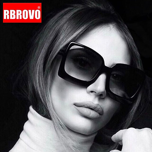 RBROVO 2020 Women Oversized Vintage Mirror Sunglasses