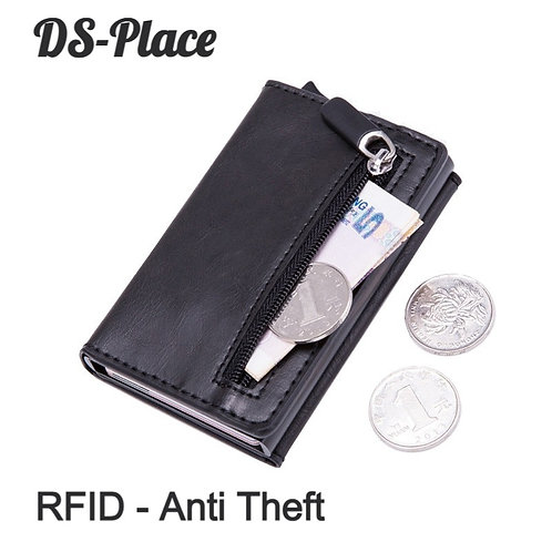 Men Rfid Anti theft Id Card Holder Leather Metal Wallet Male Coin Mini Carbon