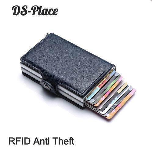 Rfid Blocking Protection Men Id Credit Card Holder Wallet Leather Metal Aluminum