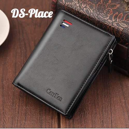 DS-Place  Organ Leather Wallet for Male Zipper Wallet With Coin Pocket