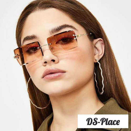 DS-Place 2020  UV400 Women Colorful Rimless Rectangle Sunglasses