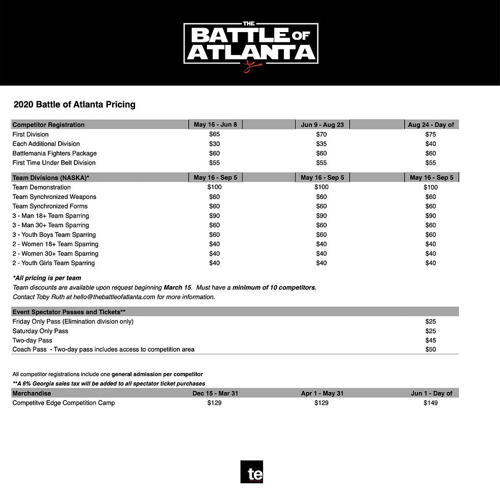 2020 Battle of Atlanta Pricing (Sept rev
