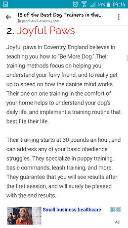 Pooch & Harmony ~ 2nd Best Trainer in UK