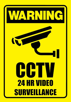 24 Hrs Video Surveillance CCTV Metal Sign 300x450