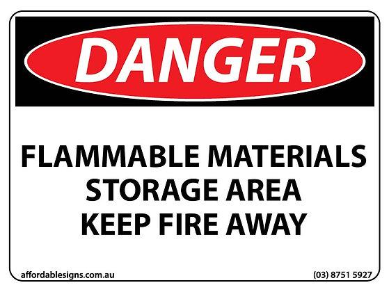Danger Flammable Materials Storage Area