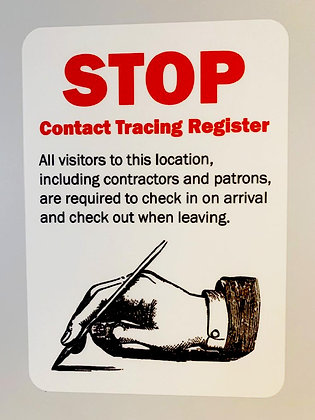 Contact Tracing Register, Visitor Check In and Check Out Sticker or Sign