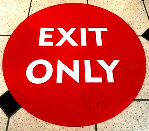 EXIT ONLY Floor Stickers, Social Distance Decals ANTI SLIP