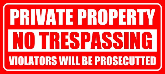 Private Property No Trespassing Sign 500x225mm