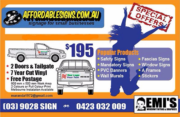 Vehicle Signage Package (2 Doors & Tailgate)