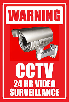 CCTV 24 Hrs Video Surveillance Metal Sign 450x600