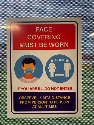 Social Distancing All Visitors Must Wear Face Covering  Sticker, Sign Decal