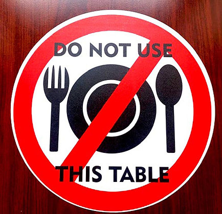 Do Not Use This Table Sticker, Social Distance Decal