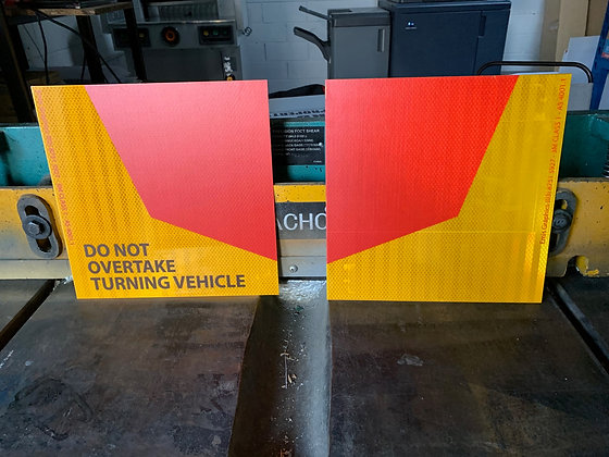 Do Not Overtake Turning Vehicle Reflective Side Marker