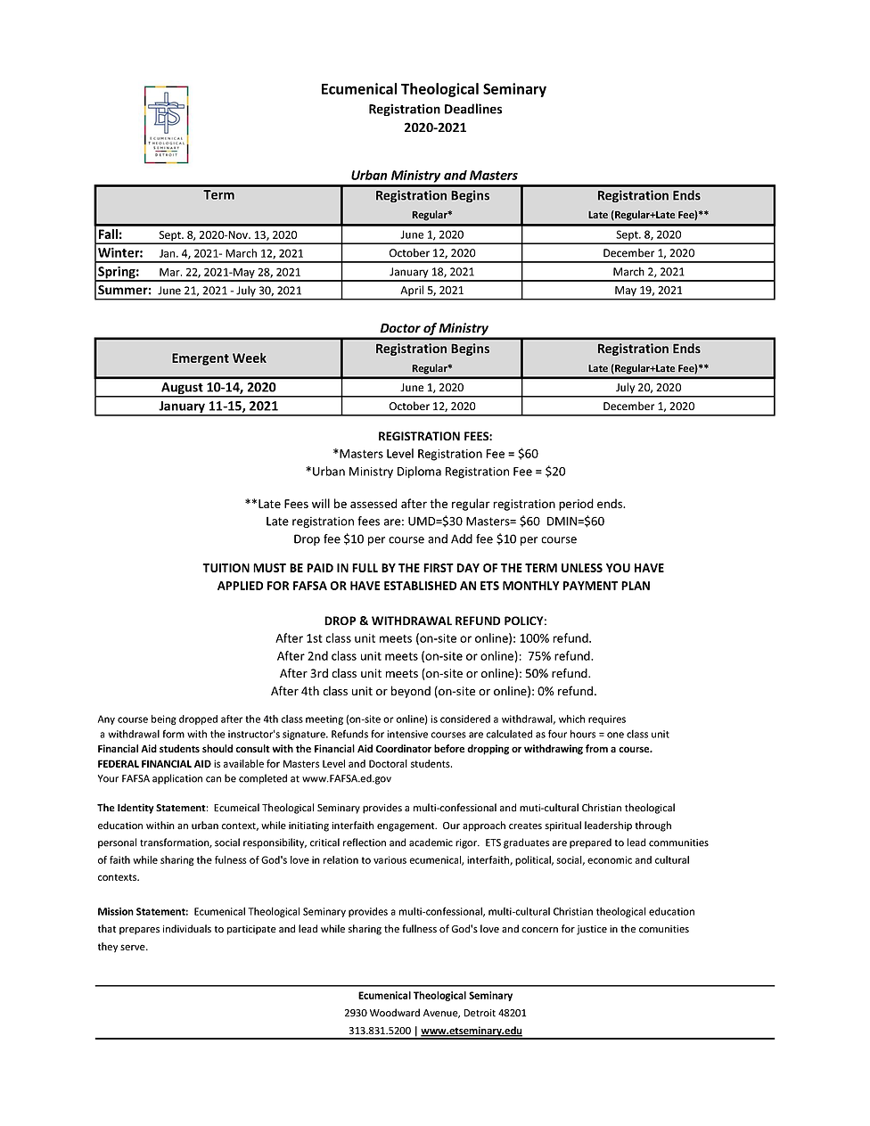 ETS Registration Deadlines 2020-2021 Rev