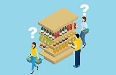 3-pessoas-comprando-e-pegando-produtos-em-uma-prateleira-de-supermercado