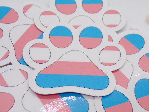 Transgender Paw Vinyl Sticker