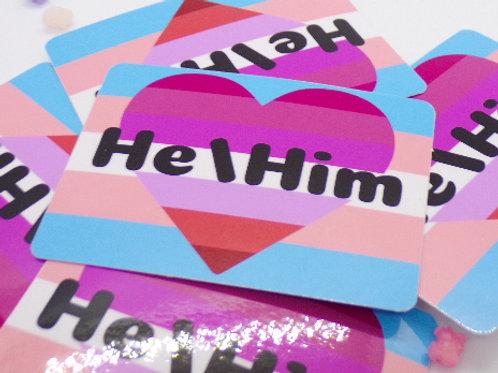 Lesbian Trans Pronoun Badge Vinyl Sticker