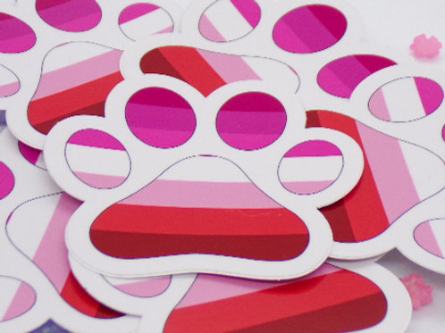 Lesbian Paw Badge Vinyl Sticker