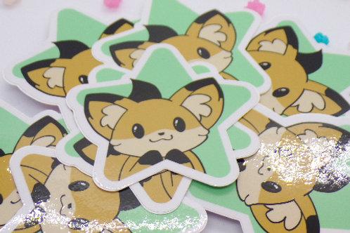 Happy Fox Star Vinyl Sticker