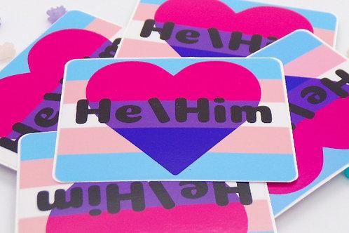 Bisexual Trans Pronoun Badge Vinyl Sticker
