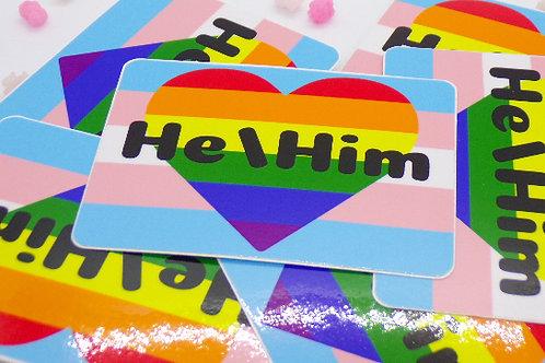 Gay Trans Pronoun Badge Vinyl Sticker