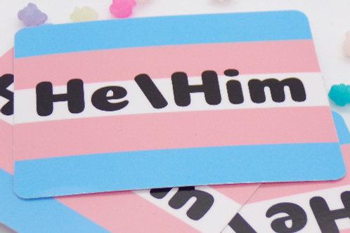 Transgender Pronoun Badge Vinyl Sticker