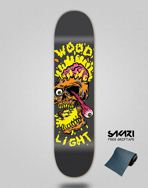 Wood light skate deck Blow up Lemon skull