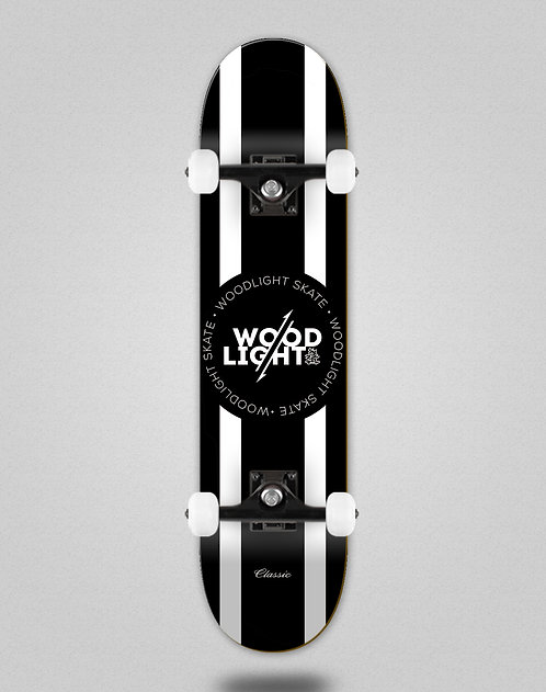 Wood light Classic black white lines skate complete