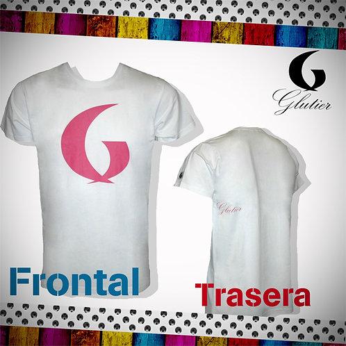 Glutier. surfskate T-shirt white pink