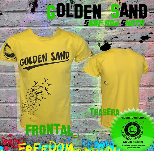 Golden Sand. T-shirt Birds invasion yellow