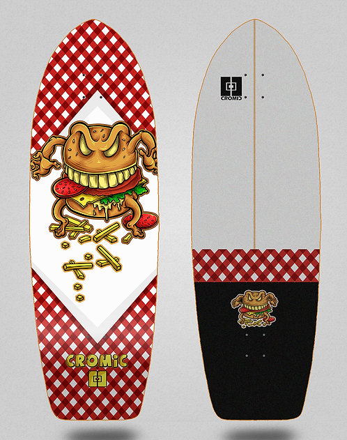 Cromic surfskate deck Burger crazy food 29