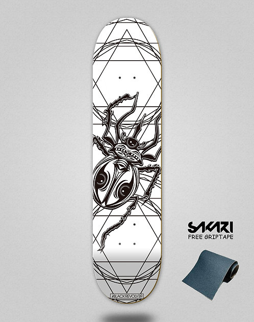 Black Revolver skate deck Insecta collective escarabajo white