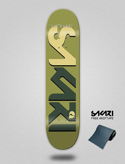 Sakari Logo green pastel skate deck