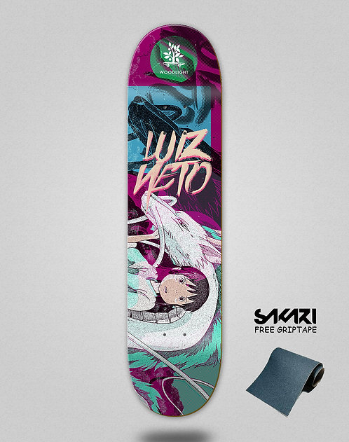 Wood light skate deck Luiz Neto pro panoramic