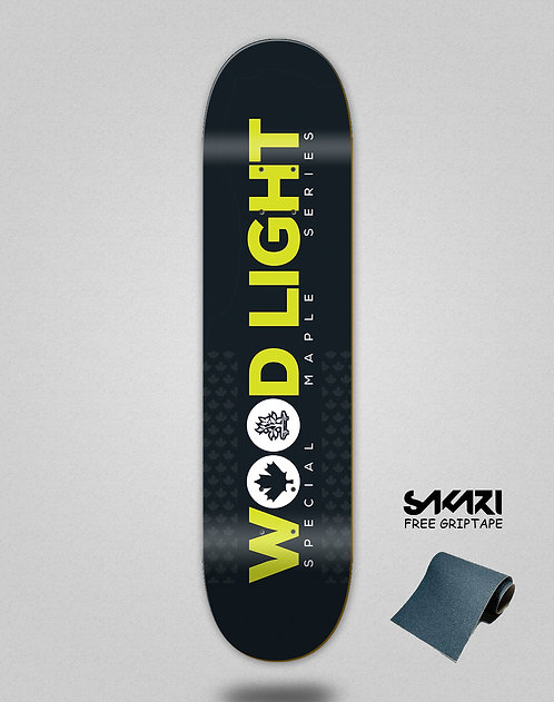 Wood light skate deck maple series letters yellow