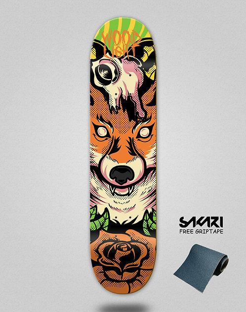 Wood light skate deck Animal fight fox