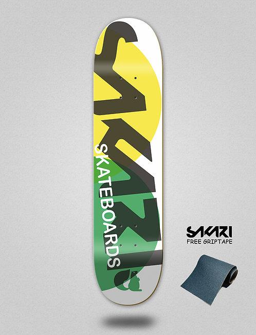 Sakari Fus yellow green skate deck